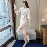 针织连衣裙女春季2019新款法式气质女神毛衣加纱裙子两件套装秋冬 杏色