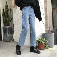 裤子女装新款2017冬装韩版百搭宽松显瘦高腰卷边直筒牛仔裤九分裤