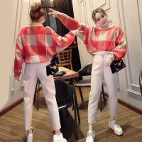 新款春装女装时髦韩版套装bf时尚潮毛衣小脚裤冬装气质两件套