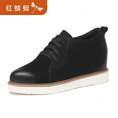 红蜻蜓女鞋新款正品时尚学院休闲厚底内增高系带女单鞋