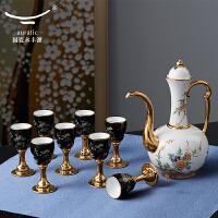 国瓷永丰源 夫人瓷石榴家园 10头陶瓷白酒杯酒具套装 明酒杯酒壶