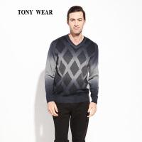 TONY WEAR/汤尼威尔秋冬男士渐变色菱型格套衫休闲V领套衫