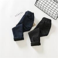 韩版冬季新款男女童百搭素色加绒加厚纯色牛仔裤休闲长裤A7-T23