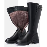 羊毛靴子女真皮长靴中筒靴女中跟加绒皮靴冬季平底中年女棉靴大码SN5836