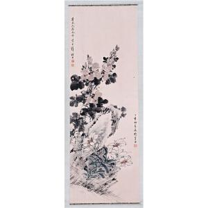 画家  宋美龄、黄君璧合作《花卉》