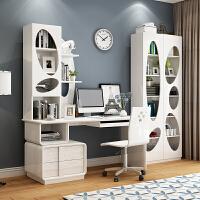 台式电脑桌家用简约经济型学生卧室书桌书架组合现代书柜桌子一体 +书椅+两门柜