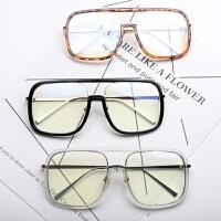 2018新款时髦方形边框墨镜镜大方框男女网红款大框眼镜架平光镜框
