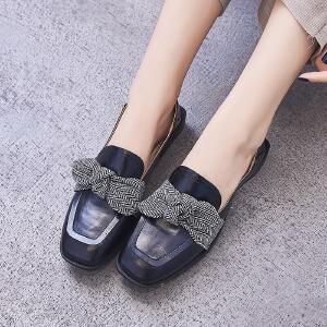 ZHR2018秋季新款韩版软妹小皮鞋方头单鞋粗跟休闲鞋复古百搭女鞋