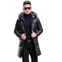 海宁新款 皮衣男士加厚中长款韩版修身绵羊毛领羽绒服外套潮流 黑色