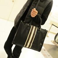 2018新款日韩男士手提包 时尚流行男包单肩斜跨包电脑商务公文包 黑色
