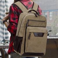 2019新款双肩包旅行背包休闲帆布电脑包男女初中高中学生书包