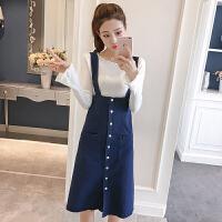 牛仔半身裙女春季新款韩版时尚单排扣高腰中长款百搭A字背带裙子
