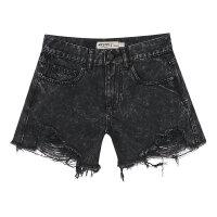 【1件2.5折到手价:29.8】美特斯邦威夏季女士夸张流苏破洞牛仔短裤
