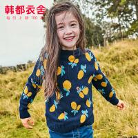【1件3折111元】韩都衣舍童装2019冬装新款女童儿童中大童毛衣针织衫YJ9633��