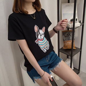 t恤女夏季新款韩版短袖宽松大码学生百搭简约休闲卡通韩范上衣服
