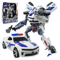 锦江变形玩具X战警大黄蜂汽车机器人模型 超大声光版礼盒装玩具 战警(天蓝色)