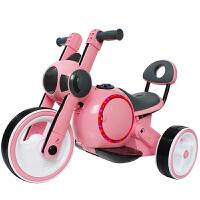 儿童电动摩托车三轮车1-3-5岁充电宝宝玩具车男女小孩童车可坐人 马卡粉 音乐灯光前进后退