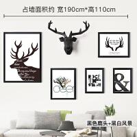 北欧组合挂画客厅装饰画沙发背景墙走廊美式鹿头现代简约餐厅壁画 总占墙面积约:宽190cm*高110cm