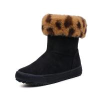 2018冬季新款雪地靴女学生百搭马丁短靴短筒平底保暖棉鞋户外棉靴真皮