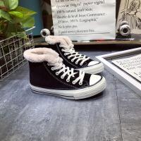 冬保暖棉鞋女高帮平底休闲板鞋港风学生帆布鞋小黑鞋加绒二棉鞋子