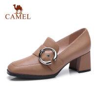 camel骆驼真皮高跟鞋粗跟2018秋季新款黑色皮鞋女工作鞋休闲舒适妈妈鞋