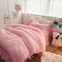 水貂绒羊羔绒四件套保暖加厚珊瑚绒被套春秋季床裙床笠床上用品