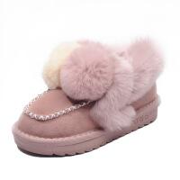 №【2019新款】冬天小朋友穿的女童短靴儿童雪地靴小女孩靴中大童加绒加棉豆豆鞋