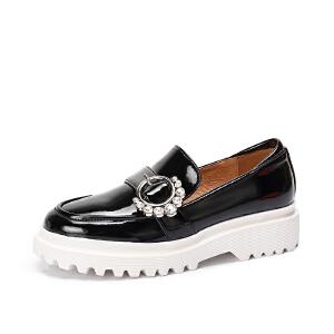 骆驼女鞋 新款秋季珠饰金属扣套脚松糕鞋女 中跟单鞋休闲鞋女