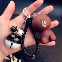 2018新品机器猫钥匙扣女韩国可爱创意卡通个性汽车钥匙链圈环书包挂件礼物 米白色 坐熊+�\绳+黑白铃