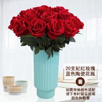 仿真玫瑰花单支 假玫瑰花 客厅装饰花绒布红玫瑰仿真花束绢花假花