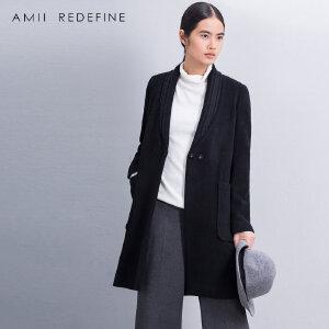 [AMII东方极简] JII[东方极简]冬季新品撞料绞花针织口袋大码羊毛呢外套女装