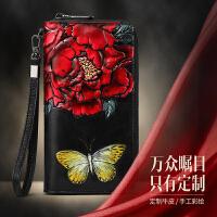 女士钱包长款2018新款韩版多功能手抓包气质皮皮雕牡丹钱夹手包