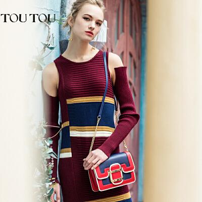 toutou2017新款包包女斜挎包韩版个性时尚撞色链条包小方包单肩包经典撞色皮带扣