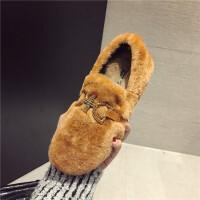 韩版水钻金属扣羊羔毛豆豆鞋女秋冬保暖加绒毛毛鞋兔毛百搭棉鞋