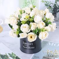 向日葵防仿真花假花客厅摆设装饰塑料花艺餐桌盆栽摆件绢花绣球花 白色 T8韩式玫瑰白
