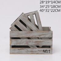 复古木箱做旧木条箱子收纳箱婚礼水果箱木筐花箱陈列定制装饰木箱c 浅灰色 字母