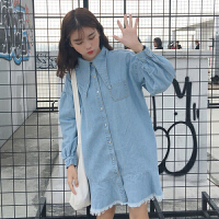 春装新款韩版个性POLO领灯笼袖宽松显瘦衬衫式鱼尾牛仔连衣裙女装
