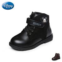 迪士尼disney童鞋17冬季儿童皮靴加绒保暖马丁靴防滑耐磨休闲靴子米奇头低筒靴 (6-12岁可选) DS2319