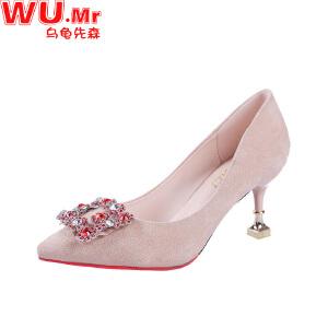 乌龟先森 高跟鞋 女士春季细跟鞋新款女式清新浅口水钻方扣单鞋婚鞋高跟鞋子