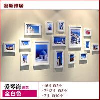 实木照片墙相框墙15框客厅相片挂墙大墙面欧式创意组合相片墙画芯