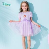 迪士尼Disney童装 女童短袖连衣裙2019夏季新品索菲亚公主印花网纱裙192Q686