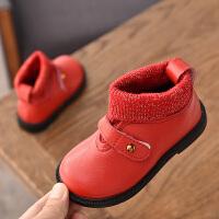 女童马丁靴秋冬2018新款韩版童鞋儿童针织加绒公主短靴女孩鞋子潮
