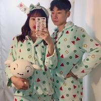 冬季加厚珊瑚绒情侣家居服蜡笔小新同款睡衣女韩国三件套装