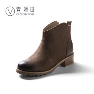 青婉田2018春新款英伦风马丁靴粗跟复古女靴子中跟真皮短靴女