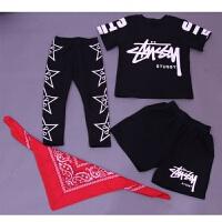 儿童装男童街舞少儿嘻哈架子鼓演出服装爵士舞演出练功服三件套装 黑色 短袖3件套+头巾