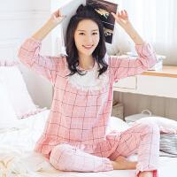 孕妇睡衣产后夏哺乳衣外出家居服喂奶套装月子服秋春秋季棉长袖