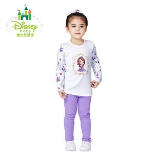 迪士尼Disney女童套装纯棉女宝宝圆领长袖套装肩开扣春秋163T662