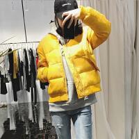 羽绒服女短款冬季新款韩版加厚宽松bf棒球面包服大码学生外套潮 S 90-120斤