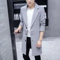 风衣男中长款修身韩版秋季毛呢大衣男士春秋潮流呢子外套
