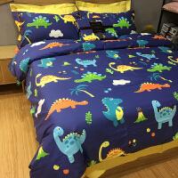 儿童床品三件套纯棉被套四件套全棉床单卡通恐龙蓝色男孩被单